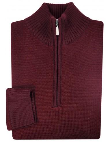 Bordowy sweter męski rozpinany pod szyją SW21