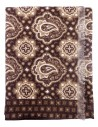 Brązowy szalik męski wełniany - wzór paisley J5