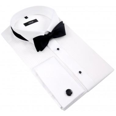 Biała koszula smokingowa z plisami Mmer 100