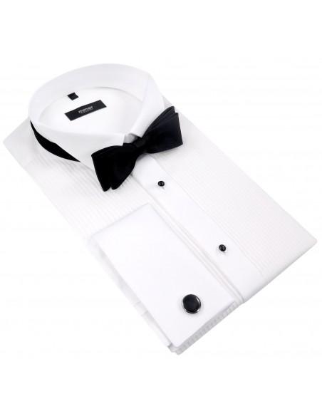 Biała koszula smokingowa z plisami Mmer 100 M3
