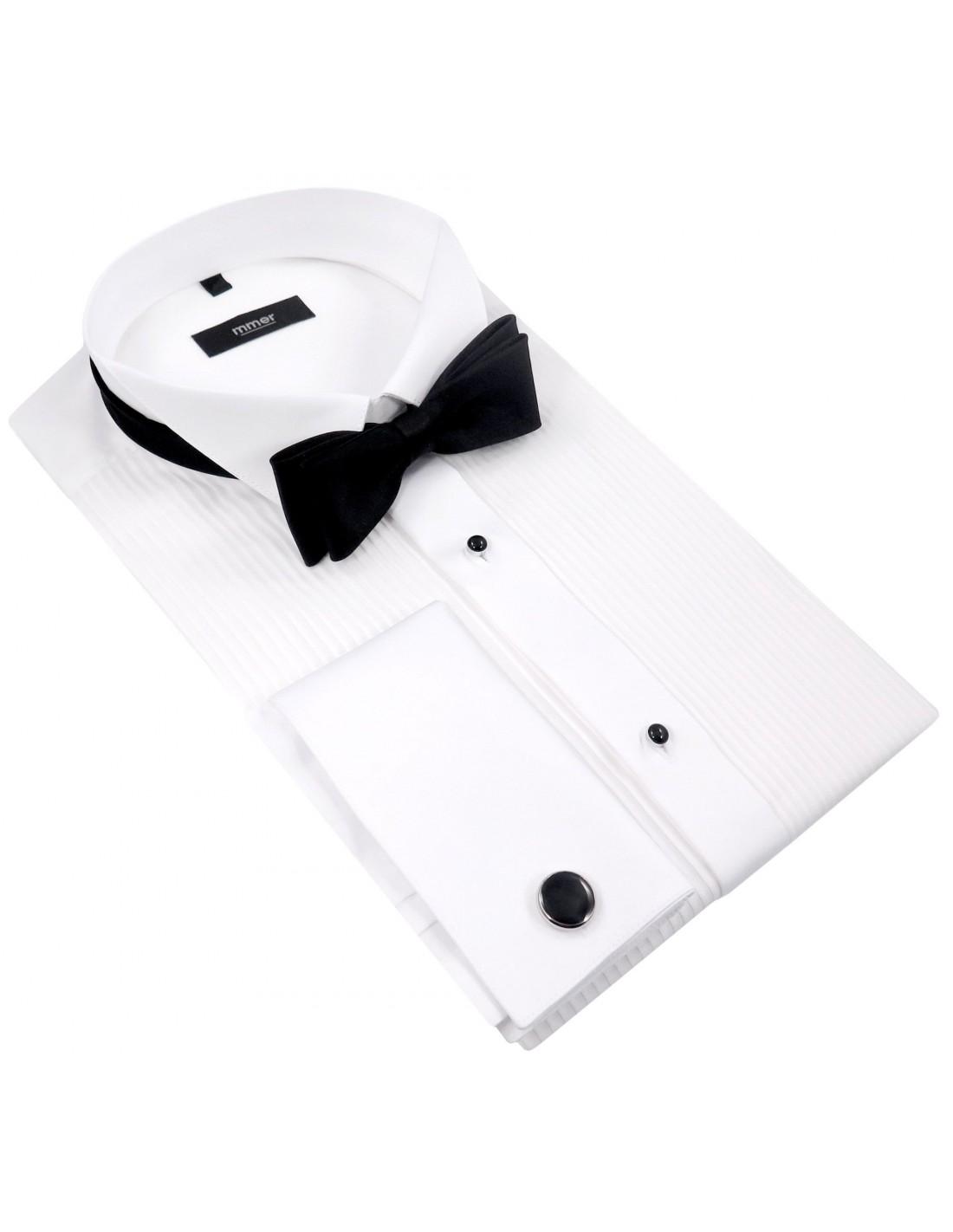 f24419f572e0f4 Biała koszula smokingowa z plisami Mmer 100 | Sklep Internetowy ...