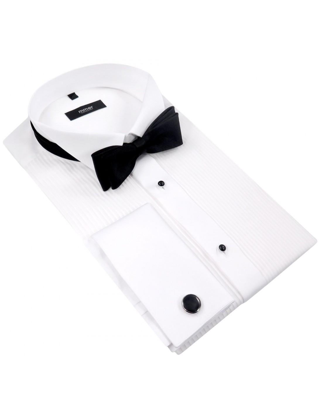07c74e065d70 Biała koszula smokingowa z plisami Mmer 100 M3