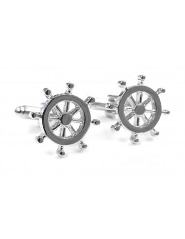 Srebrne spinki do mankietów - koła sterowe U112