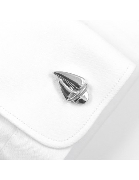 Srebrne spinki do mankietów - żaglówki U116