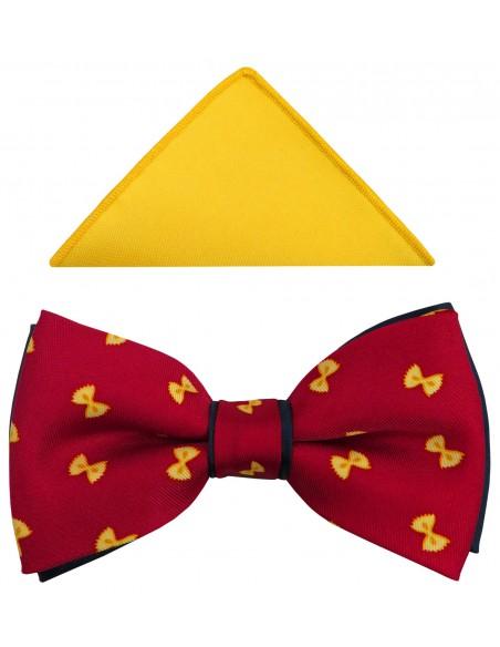 Czerwona mucha męska w żółte kokardki A231