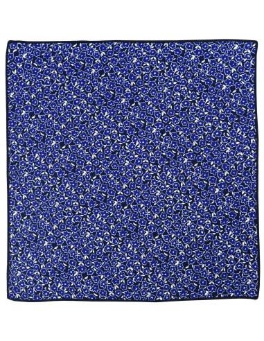Granatowa poszetka w niebieskie kwiatki E108