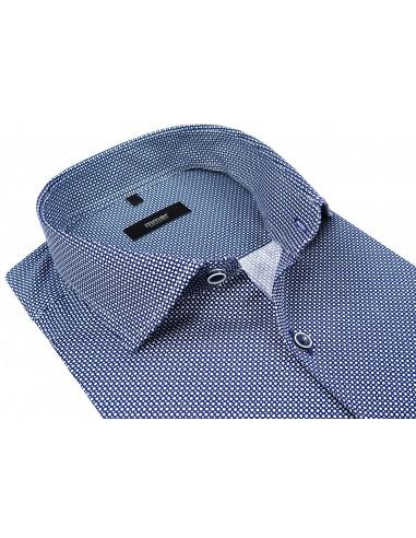 Granatowa koszula męska w drobne białe kropki 532