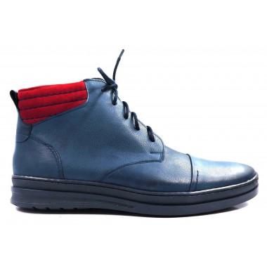 Granatowo-czerwone buty męskie za kostkę T66
