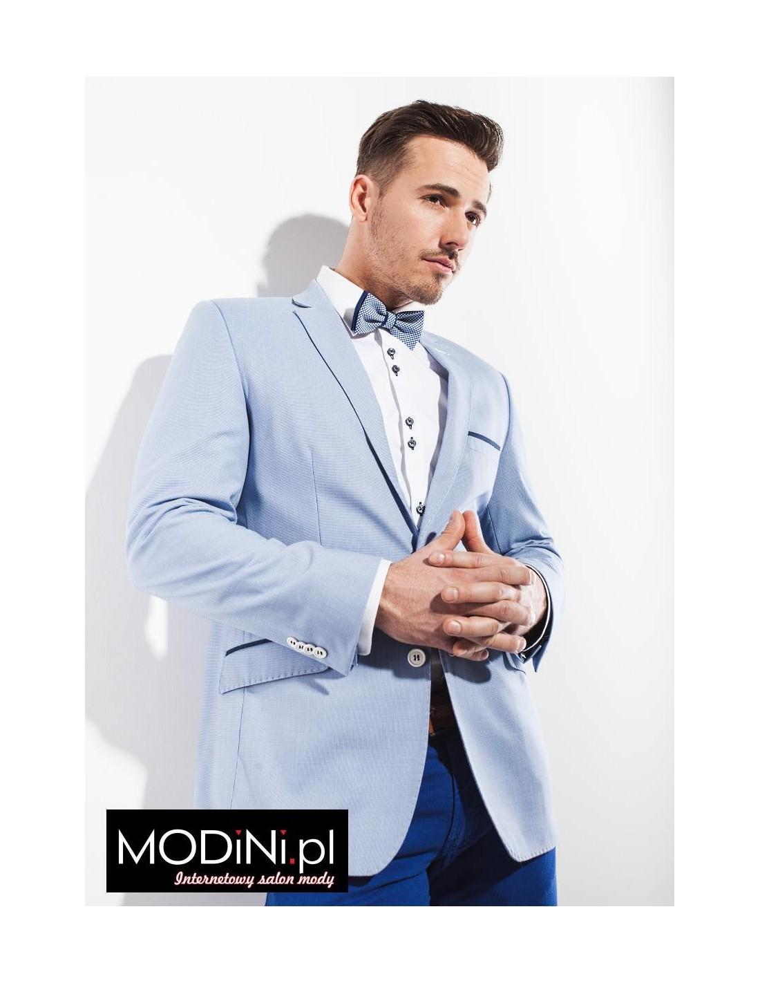 80f6c29e8115f Jasno niebieska / błękitna marynarka męska | Sklep Internetowy Modini.pl