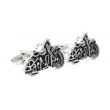 Czarno-srebrne spinki do mankietów - motocykle A89