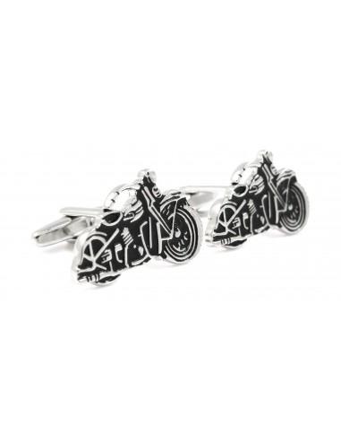 Czarno-srebrne spinki do mankietów - motocykle