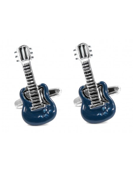 Niebiesko-srebrne spinki do mankietów - gitary A135