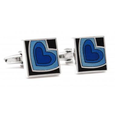 Kwadratowe spinki do mankietów - niebieskie serca A113
