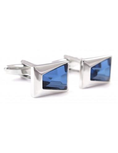 Prostokątne srebrne spinki do mankietów z niebieskim kryształem A106
