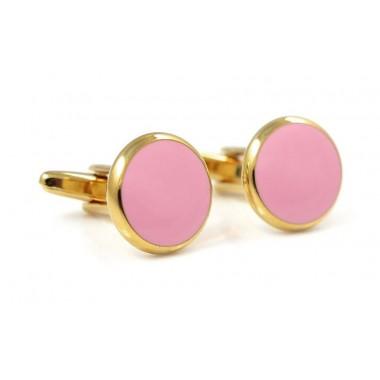 Złote okrągłe spinki do mankietów z różowym oczkiem A111