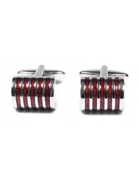 Srebrne / czerwone spinki męskie A12