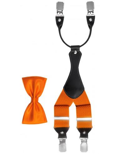 Pomarańczowy zestaw - szelki i mucha Z36
