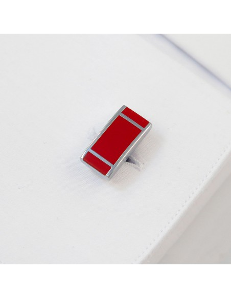 Srebrno-czerwone spinki do mankietów z pionowymi paskami