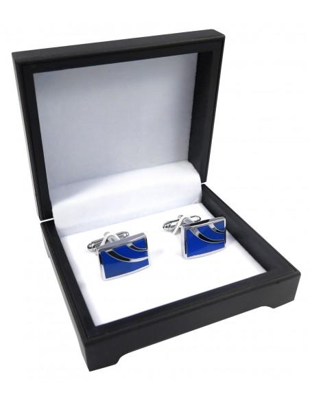 Kobaltowe spinki do mankietów - srebrne łuki N124