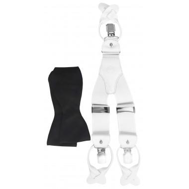 Biało-czarny zestaw - białe szelki na guziki i czarna mucha wiązana Z42