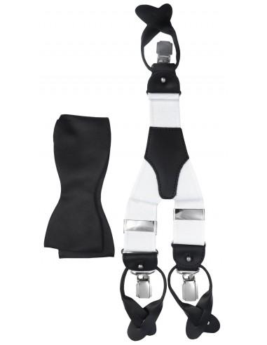 Czarno-biały zestaw - szelki na guziki i czarna mucha wiązana Z44