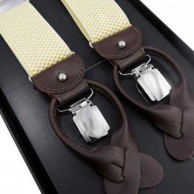 Beżowe szelki męskie na guziki z brązowymi skórkami G51