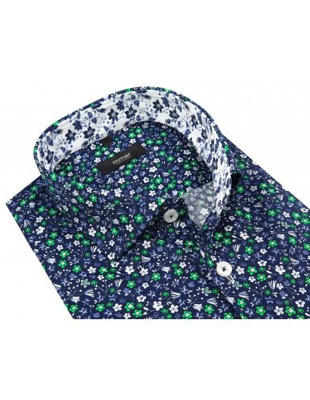 Granatowa koszula męska w kolorowe kwiatki 764