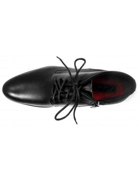 Czarne buty męskie zimowe z czerwonymi wstawkami T80