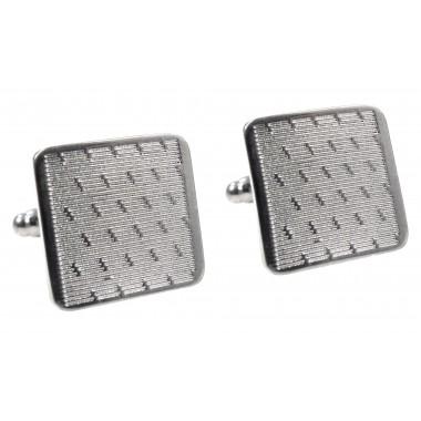 Srebrne kwadratowe spinki do mankietów z drobnym wzorem U121