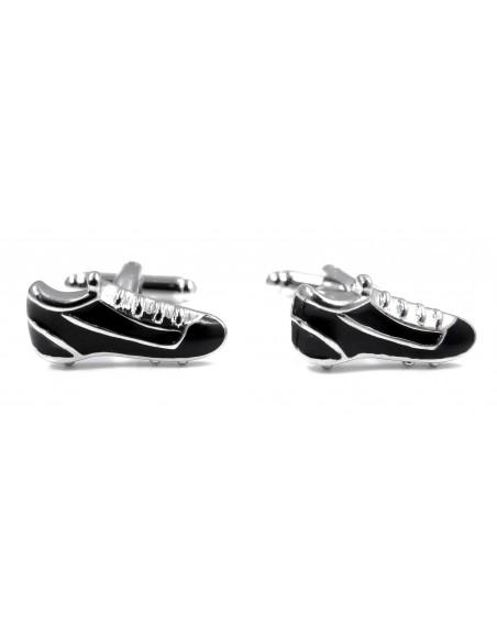 Srebrno-czarne spinki do mankietów - buty piłkarskie U123