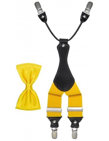 Żółty zestaw - szelki i mucha Z49