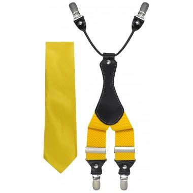 Żółty zestaw - szelki i krawat Z50
