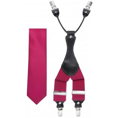 Amarantowy zestaw - szelki i krawat Z52