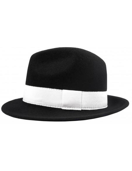 Czarny kapelusz męski z białym paskiem G5