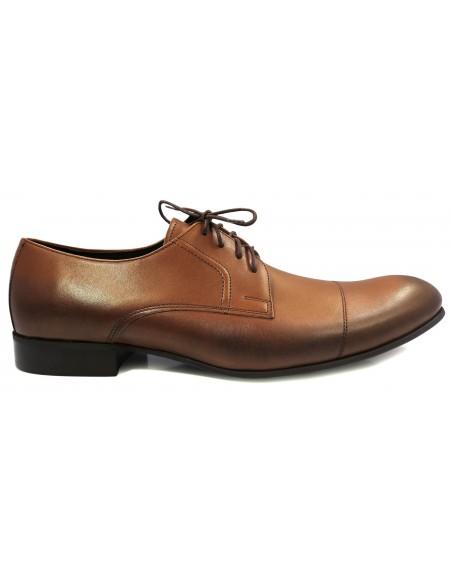 Brązowo-koniakowe przecierane buty męskie T81