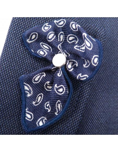 Granatowa wpinka do butonierki w biały wzór paisley W39