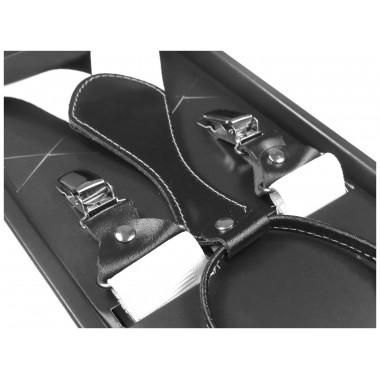 Białe szelki męskie do spodni- czarna skóra SZ3
