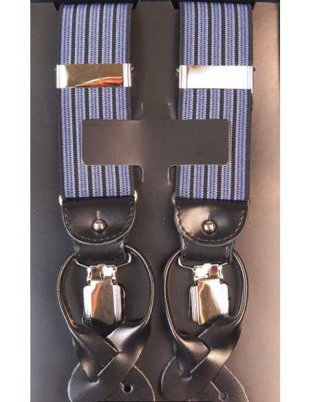 Czarno-niebieskie szelki na guziki w paski