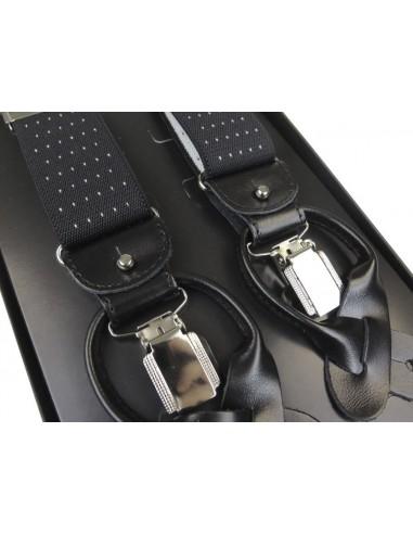 Szelki do spodni na guziki - czarne z białymi kropkami