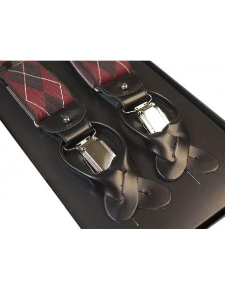 Bordowe szelki na guziki - czarne romby