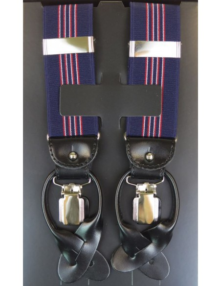 Szelki do spodni na guziki - granatowe z wąskimi biało-czerwonymi paskami