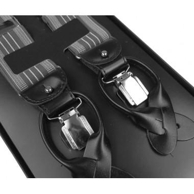 Szelki do spodni na guziki - szare z białymi paskami