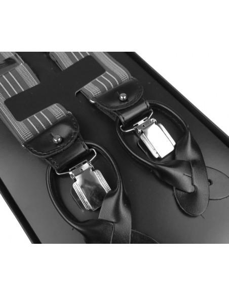 Szelki do spodni na guziki - szare z białymi paskami G24