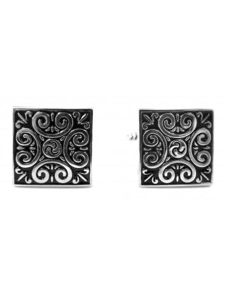 Czarne kwadratowe spinki do mankietów - srebrny ornament U125