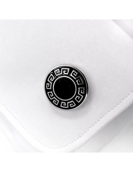 Czarne okrągłe spinki do mankietów ze srebrnym wzorem U129