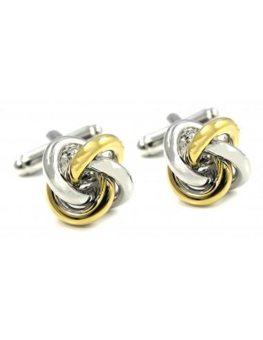 Spinki do mankietów - złoto-srebrne węzełki U134