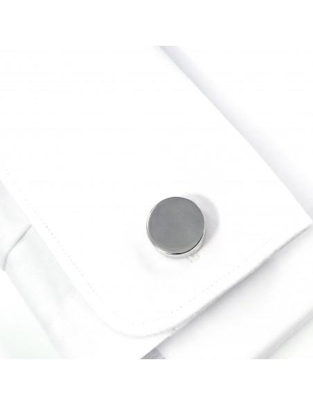 Okrągłe srebrne spinki do mankietów U141