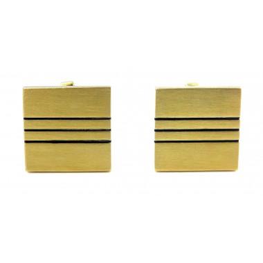 Nakładki na guziki - kwadraty w złotym kolorze z trzema paskami M110