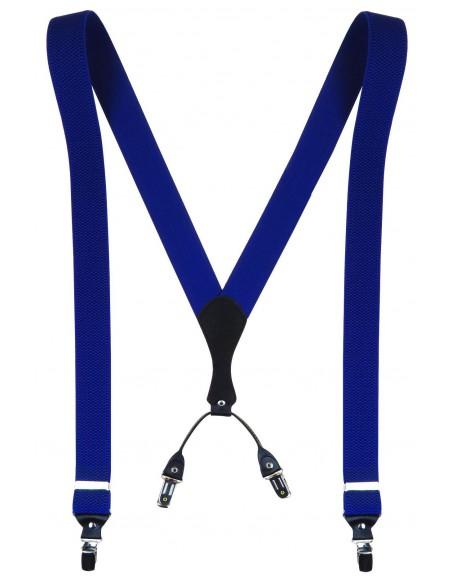 Niebieskie - Kobaltowe szelki męskie do spodni SZ11