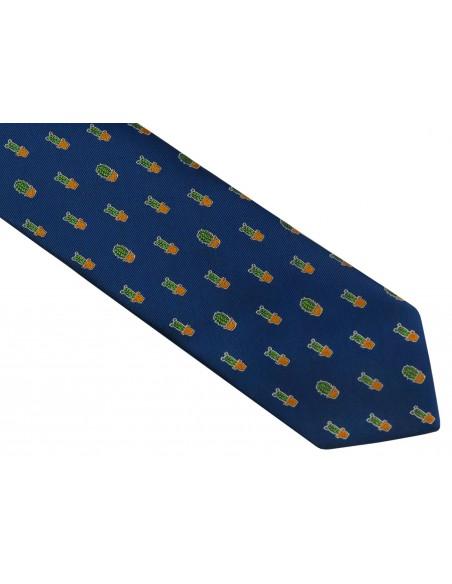Granatowy krawat męski w kaktusy D117